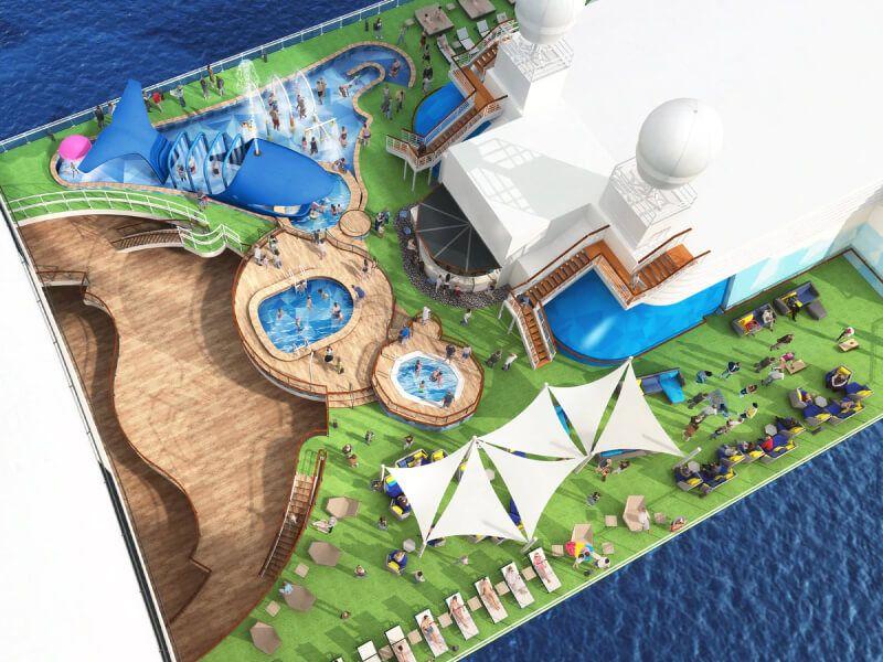 Splash zone du bateau de croisière Caribbean Princess
