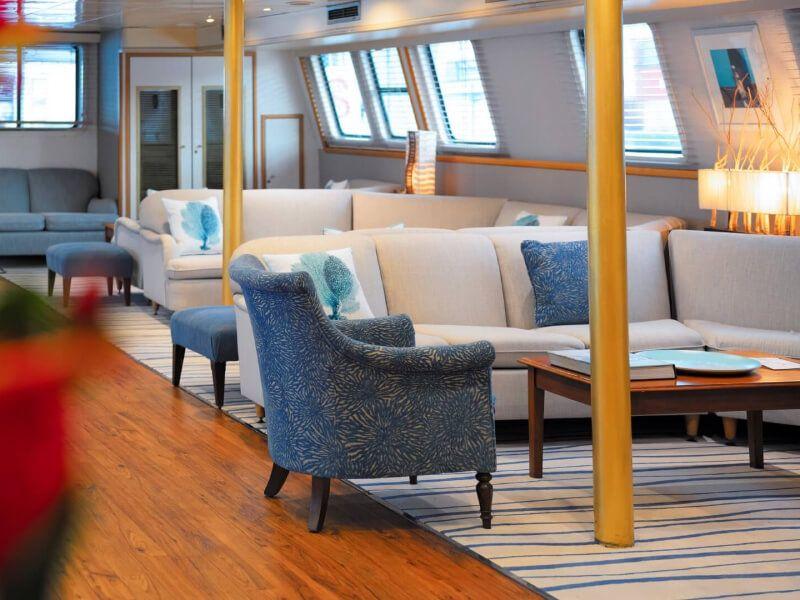 Lounge du bateau de croisière M Y Pegasus