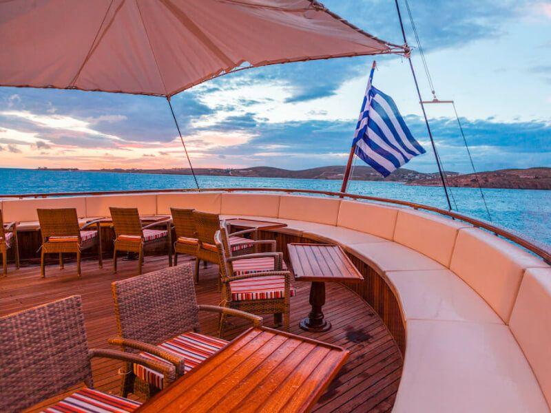 Terrasse du bateau de croisière M S Galileo