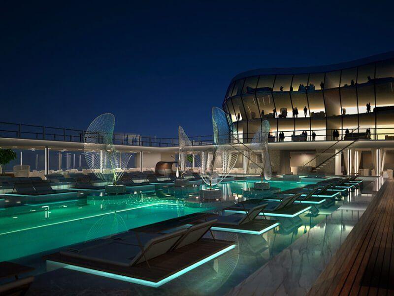 Vue de la piscine la nuit du bateau de croisière MSC Meraviglia