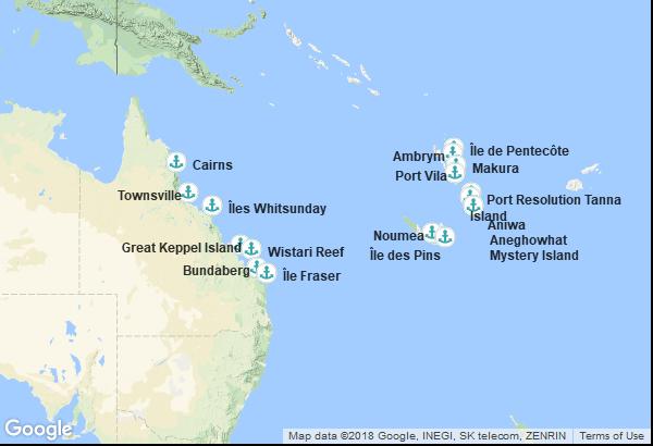 Itinéraire de la croisière : Vanuatu, Nouvelle-Calédonie, Australie