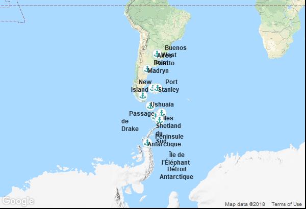 Itinéraire de la croisière : Argentine, Îles Malouines, Antarctique