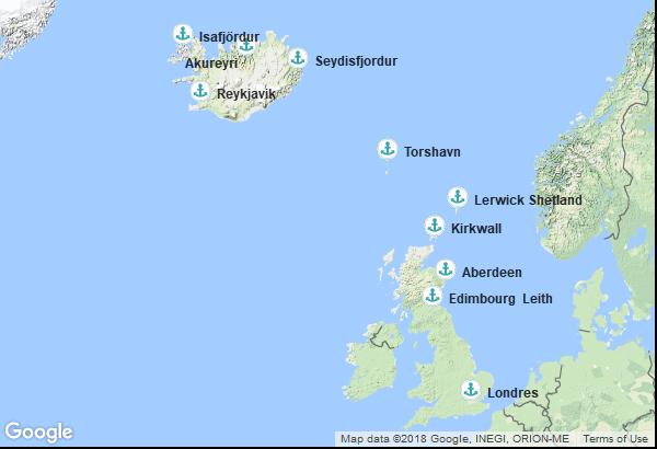 Itinéraire de la croisière : Islande, Îles Féroé, Ecosse, Angleterre