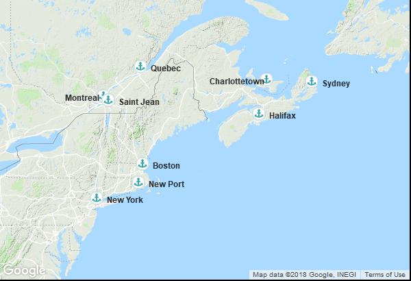 Itinéraire de la croisière : États-Unis, Canada