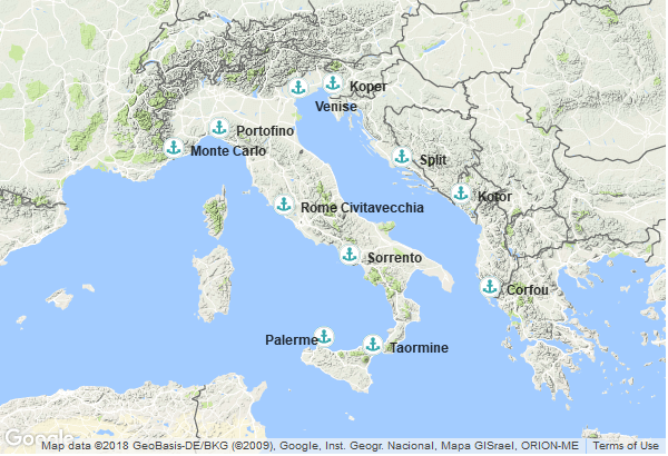 Itinéraire de la croisière : Italie, Slovénie, Croatie, Montenegro, Grèce, Monaco