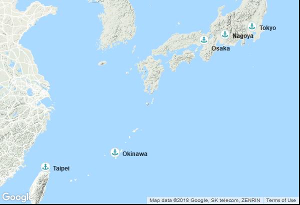 Itinéraire de la croisière : Taïwan, Japon