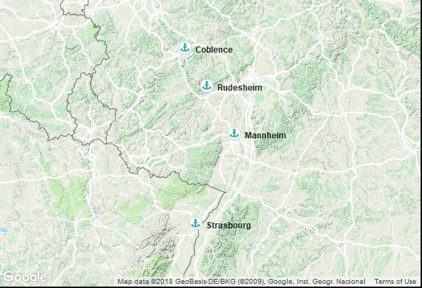 Itinéraire de la croisière : France, Allemagne
