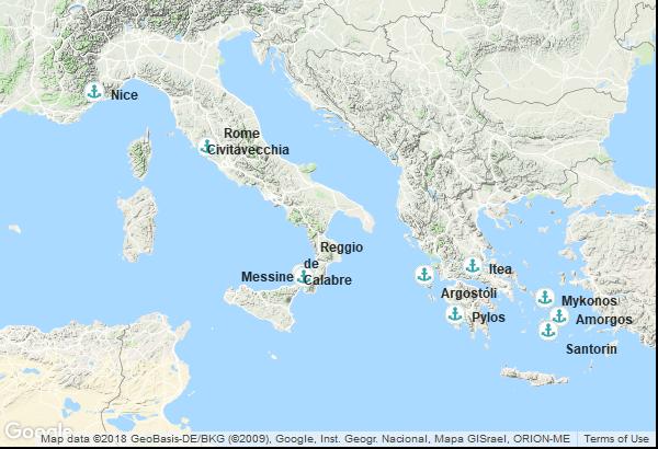 Itinéraire de la croisière : France, Italie, Grèce