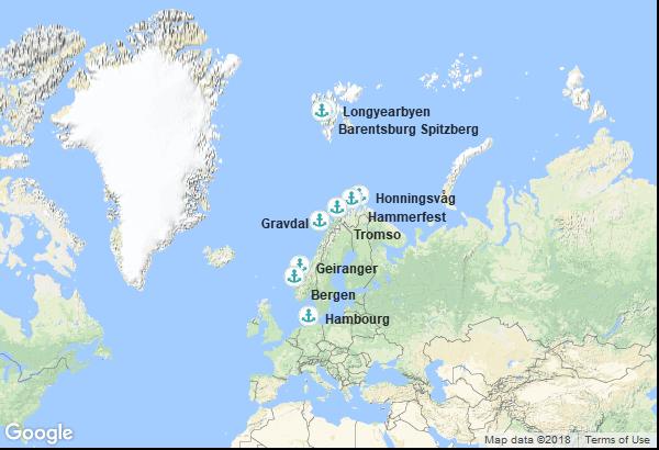 Itinéraire de la croisière : Norvège, Allemagne