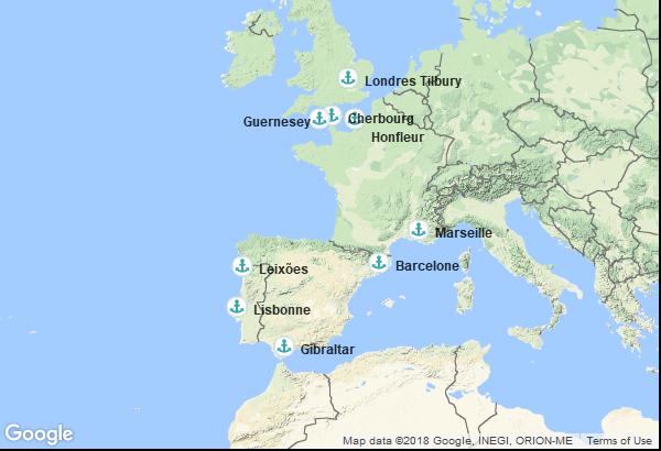 Itinéraire de la croisière : France, Espagne, Territoire Britannique d'outre-mer, Portugal, Îles Anglo-Normandes, Angleterre