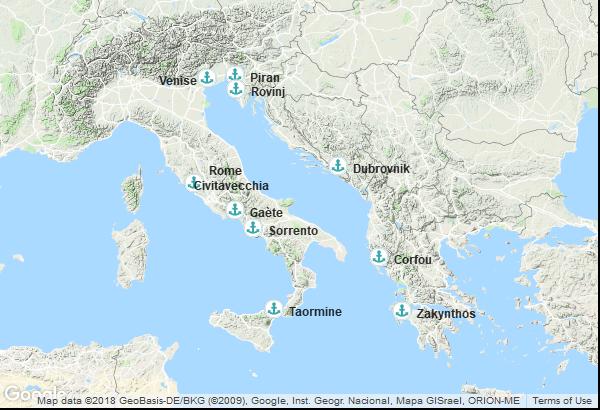 Itinéraire de la croisière : Italie, Slovénie, Croatie, Grèce