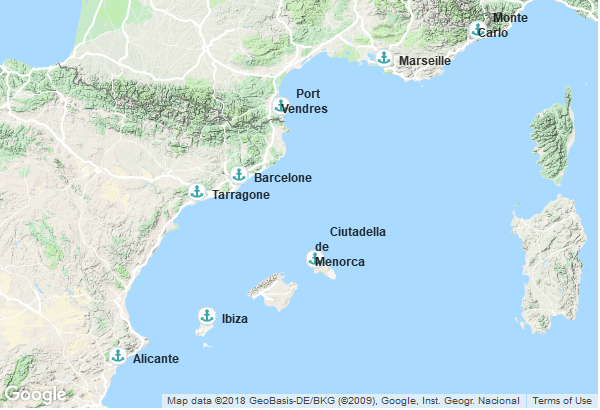 Itinéraire de la croisière : Monaco, France, Îles Baléares, Espagne