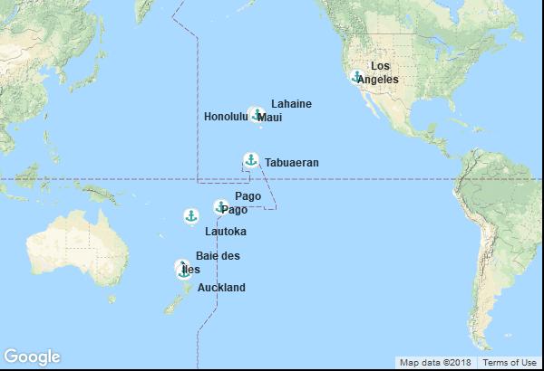 Itinéraire de la croisière : États-Unis, Hawaï, Kiribati, Samoa américaines, Fidji, Nouvelle-Zélande