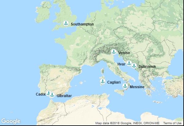 Itinéraire de la croisière : Angleterre, Espagne, Italie, Croatie, Territoire Britannique d'outre-mer