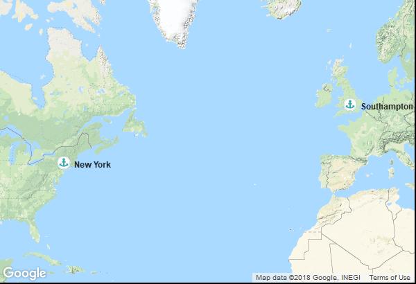 Itinéraire de la croisière : Angleterre, États-Unis
