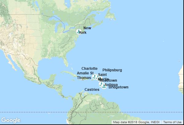 Itinéraire de la croisière : États-Unis, Îles Vierges, Antigua et Barbuda, Barbade, Sainte Lucie, Antilles néerlandaises