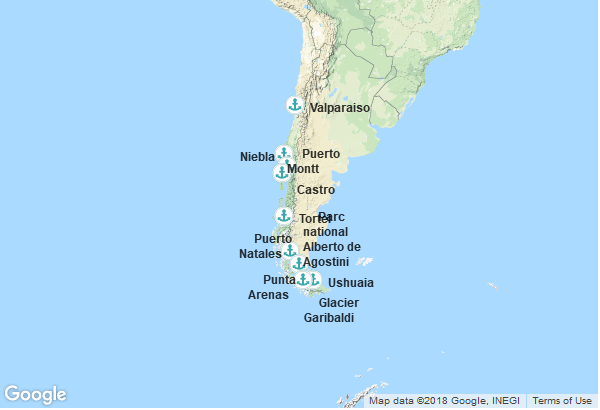 Itinéraire de la croisière : Argentine, Chili