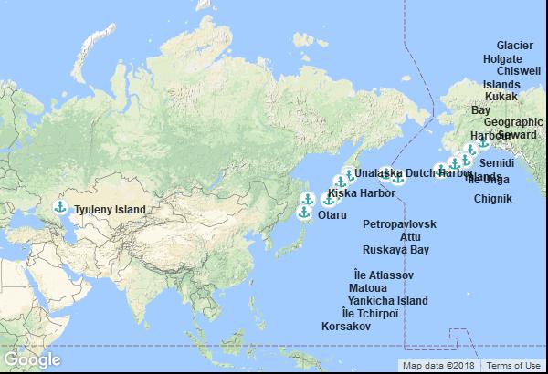 Itinéraire de la croisière : Alaska, Russie, Japon