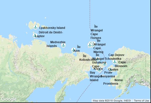 Itinéraire de la croisière : Alaska, Russie