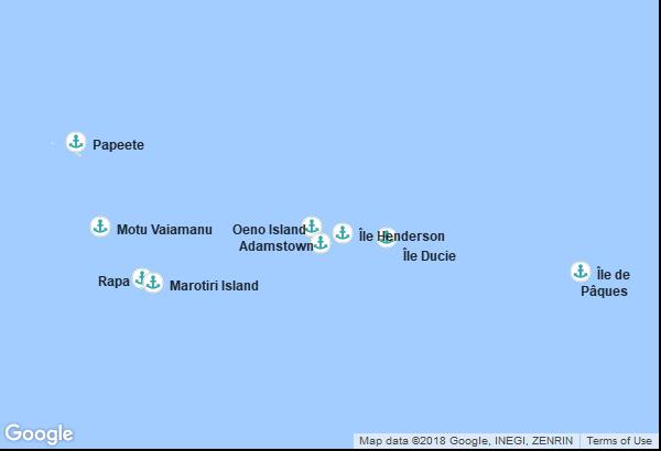 Itinéraire de la croisière : Polynésie française, Îles Pitcairn, Chili