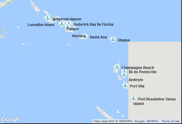 Itinéraire de la croisière : Iles Salomon, Vanuatu
