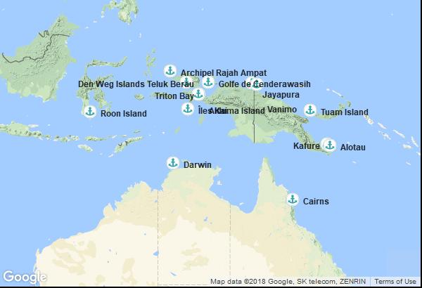 Itinéraire de la croisière : Australie, Papouasie-Nouvelle-Guinée, Indonésie