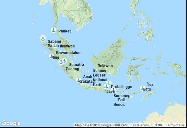 Itinéraire de la croisière : Indonésie, Thaïlande
