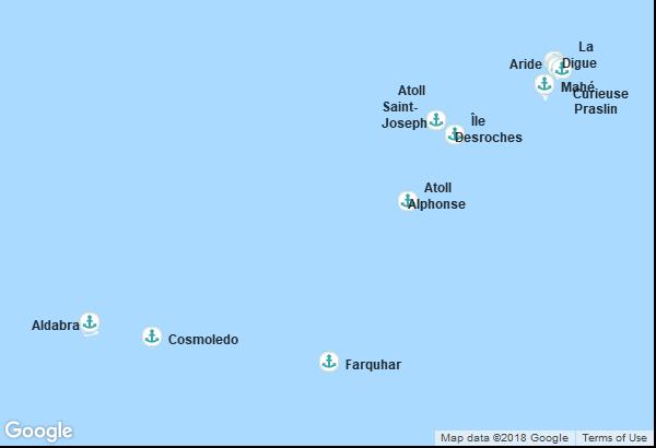 Itinéraire de la croisière : Seychelles