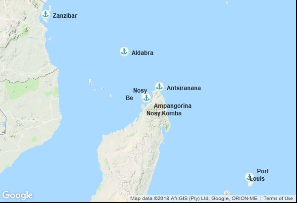 Itinéraire de la croisière : Ile Maurice, Madagascar, Seychelles, Tanzanie