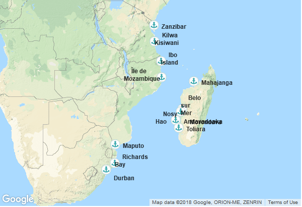 Itinéraire de la croisière : Tanzanie, Mozambique, Madagascar, Afrique du Sud