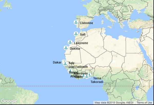 Itinéraire de la croisière : Ghana, Côte d'Ivoire, Sierra Leone, Gambie, Sénégal, Maroc, Portugal