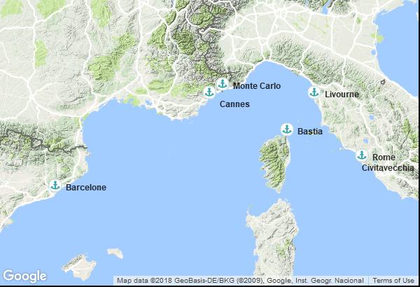 Itinéraire de la croisière : Espagne, France, Monaco, Italie