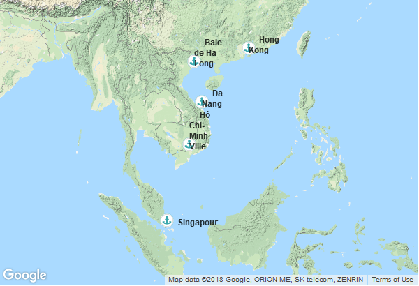 Itinéraire de la croisière : Singapour, Viêt Nam, Chine