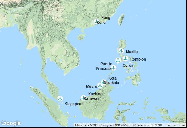 Itinéraire de la croisière : Chine, Philippines, Malaisie, Brunei, Singapour