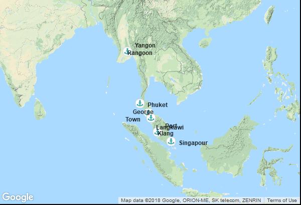 Itinéraire de la croisière : Singapour, Malaisie, Thaïlande, Birmanie