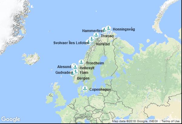 Itinéraire de la croisière : Danemark, Norvège