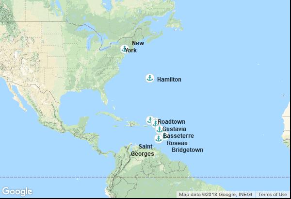 Itinéraire de la croisière : États-Unis, Bermudes, Îles Vierges, Saint-Christophe-et-Niévès, Saint-Barthélemy, Dominique, Grenade, Barbade