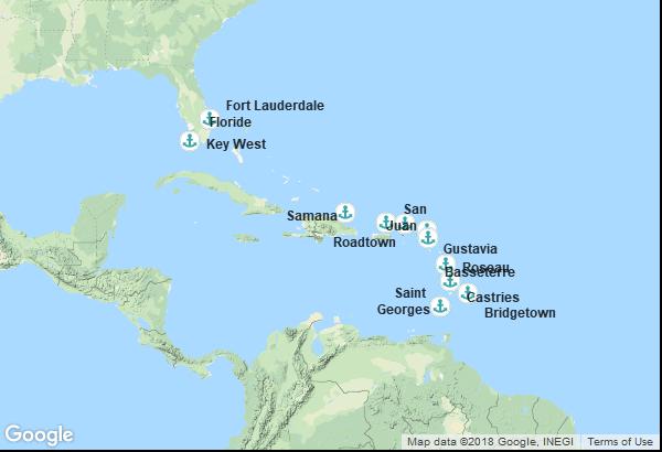 Itinéraire de la croisière : Barbade, Grenade, Sainte Lucie, Dominique, Saint-Christophe-et-Niévès, Saint-Barthélemy, Îles Vierges, Porto Rico, République Dominicaine, États-Unis