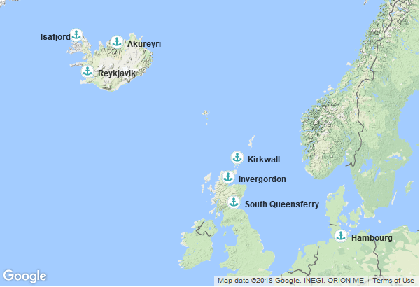 Itinéraire de la croisière : Allemagne, Royaume Uni, Ecosse, Islande