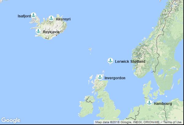 Itinéraire de la croisière : Allemagne, Ecosse, Islande