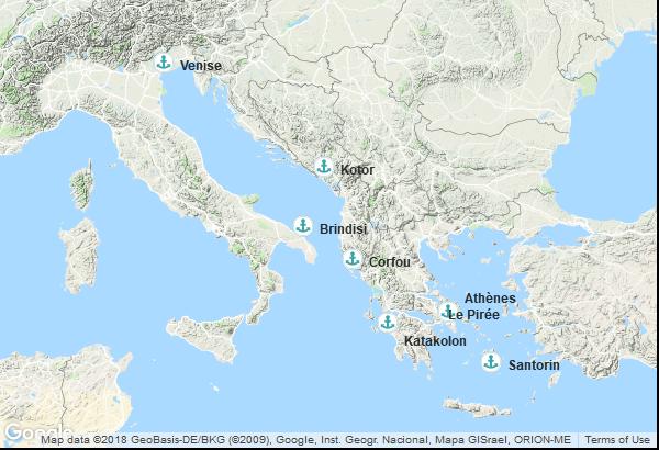 Itinéraire de la croisière : Italie, Grèce, Palaos