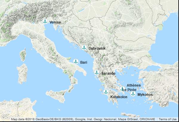 Itinéraire de la croisière : Italie, Grèce, Albanie, Croatie