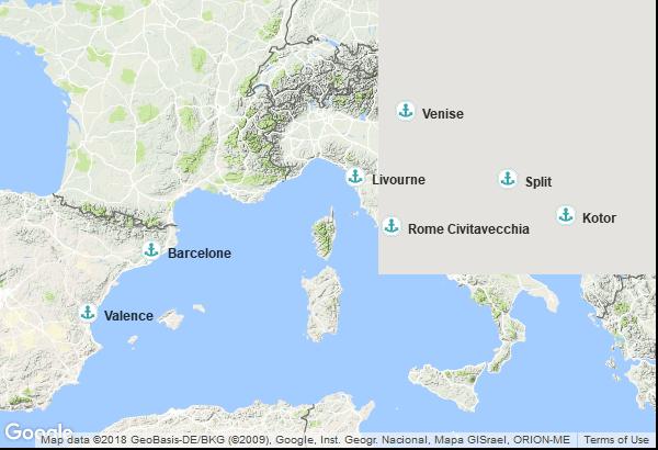 Itinéraire de la croisière : Espagne, Italie, Montenegro, Croatie