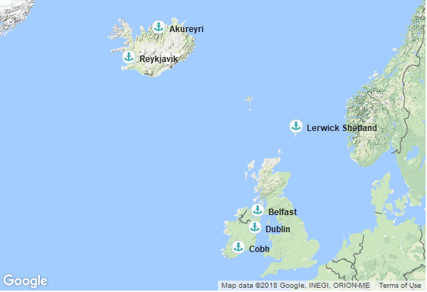 Itinéraire de la croisière : Irlande, Irlande du Nord, Islande, Ecosse