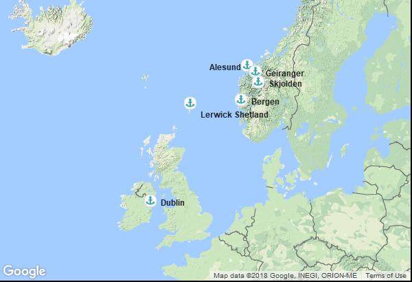 Itinéraire de la croisière : Irlande, Norvège, Ecosse