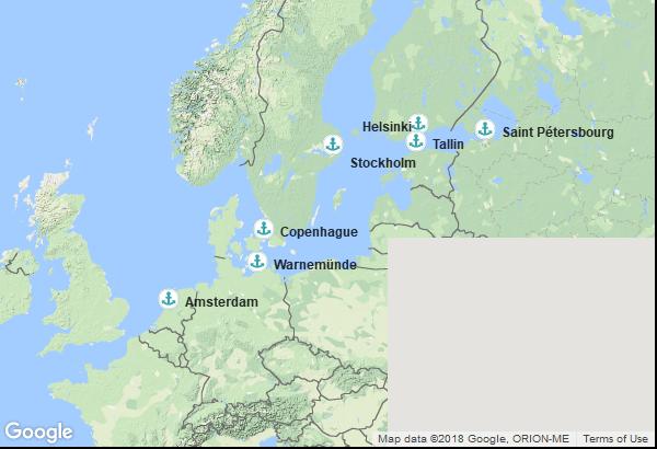 Itinéraire de la croisière : Pays Bas, Allemagne, Finlande, Russie, Estonie, Suède, Danemark