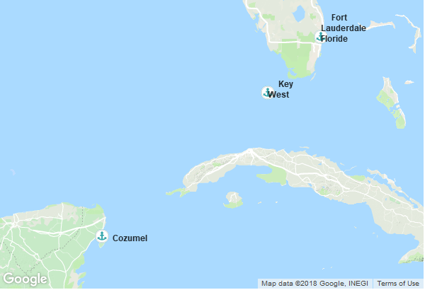 Itinéraire de la croisière : États-Unis, Mexique