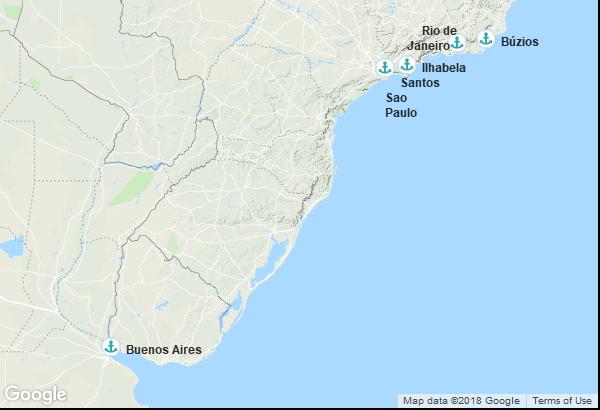 Itinéraire de la croisière : Argentine, Brésil
