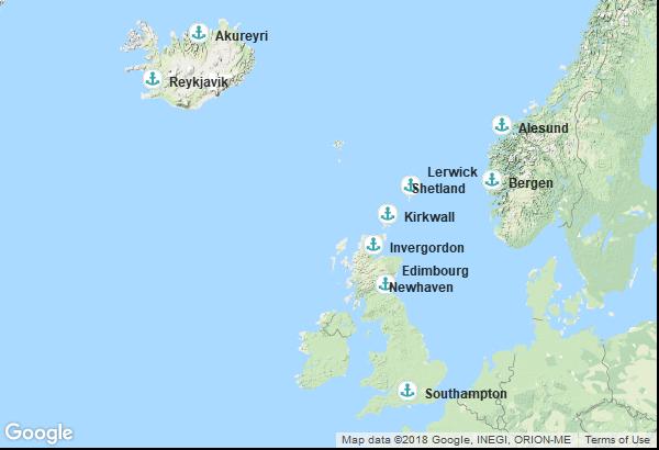 Itinéraire de la croisière : Angleterre, Norvège, Ecosse, Islande