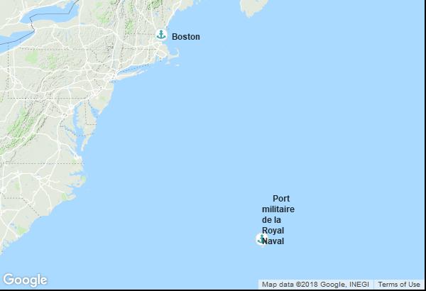 Itinéraire de la croisière : États-Unis, Bermudes